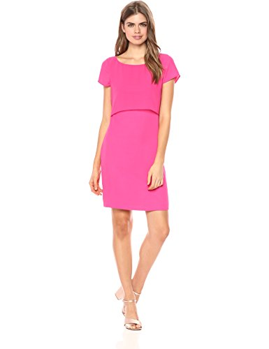 Wild Meadow Women's Layered Crepe Short Sleeve Shift Dress XL Fuchsia Pink