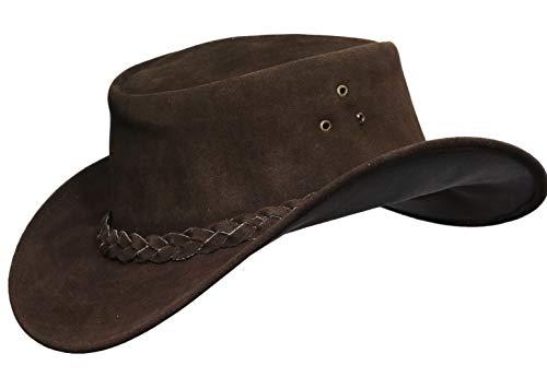 (Australian Leather Hat with Braided Band Original Cowboy Aussie Bush Hat (L, Brown))