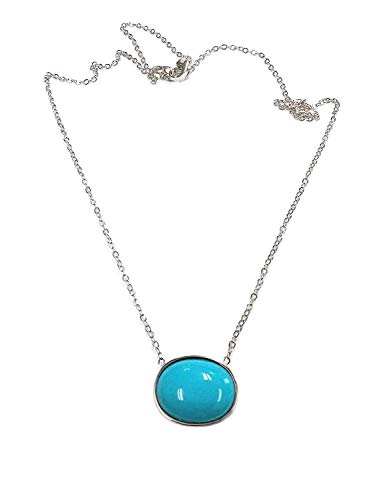 - TousiAttar Sleeping Beauty Turquoise Pendant- Solid 14k or 18k White Oval Necklace Gold for Gift - December Birthstone.