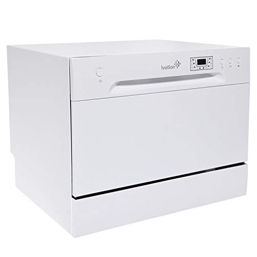 Ivation Portable Dishwasher – Countertop Small Compact Dishwasher for Apartment, Condo, RV, Office & Other Small Kitchens – 6 Place Setting Capacity – White (Renewed)