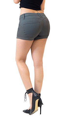 Womens Butt Lifting Twill Denim Shorts SH43308X Gun Metal - Lara Croft Shorts