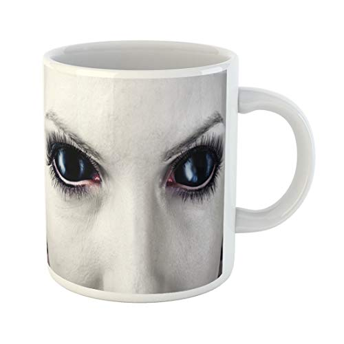 Tarolo 11 Oz Mug Coffee Mug Ceramic Tea Cup Demon Evil Black Female Alien Vampire Zombie Eyes Dirt Make Up Macro Halloween Devil Fantasy Large C-handle Family and Office Gift -
