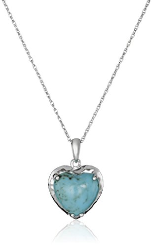 Sterling Silver Turquoise Bohemian Heart Pendant Necklace, 18""