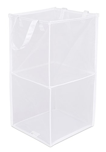 - BIRDROCK HOME Pop-Up Magic Hamper | Collapsible Mesh Laundry Hamper | Square | Carry Handles | Dirty Laundry Sorter Mesh Basket | White