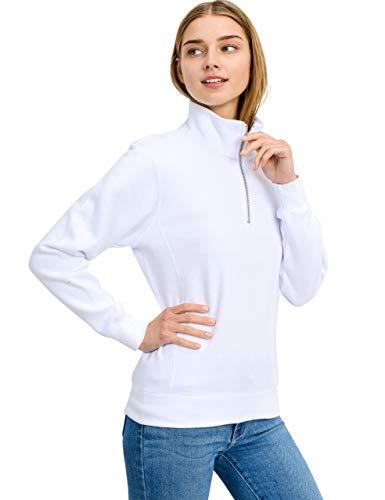 esstive Women's Basic Fleece High Neck Half-Zip Solid Sweatshirt, White, X-Small