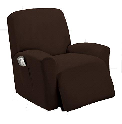 TT LINENS One Piece Stretch Recliner Slipcover Chair Recliner Cover Lazy Boy Slipcover Stretch Fit Furniture, Sonia (Coffee)