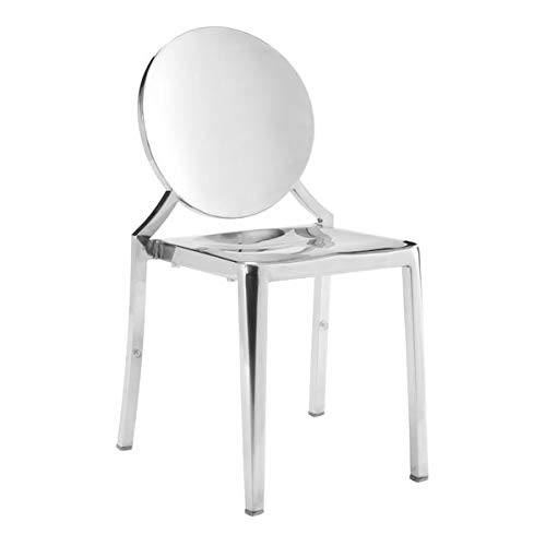 Zuo Modern 100550 Eclipse Dining Chair (Set of 2), Stainless Steel, Classic French Design, Polished Stainless Steel Finishing Seamlessly, 250 lbs Weight Capacity, Dimensions 17.5