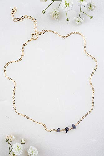 Iolite beaded chain choker necklace in 14k gold fill - 12