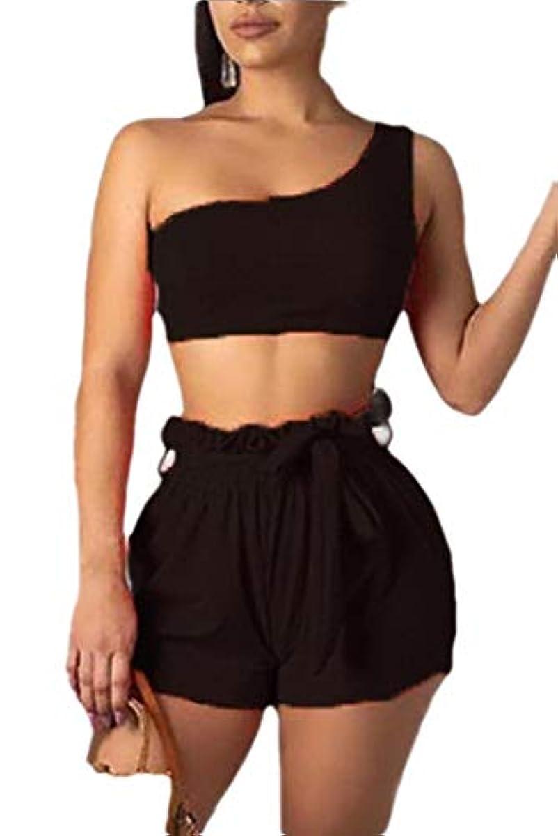 に沿って排除リスクmaweisong 女性2片1ショルダー作物ショートパンツカジュアル衣装スポーツウェアセット
