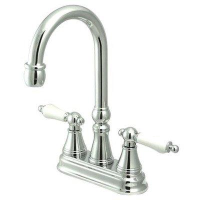 Chrome Faucet Madison Polished (Madison Centerset Bar Faucet with Porcelain Lever Handles Finish: Polished Chrome)