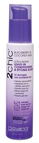GIOVANNI 2Chic  Blackberry & Coconut Repairing Leave-In Conditioner and Styling Elixir - Nourishing and Repairing Hair Treatment For Damaged or Over-Processed Hair (4 Ounce / 118 Milliliter) (Giovanni 2chic Blackberry And Coconut Milk Reviews)