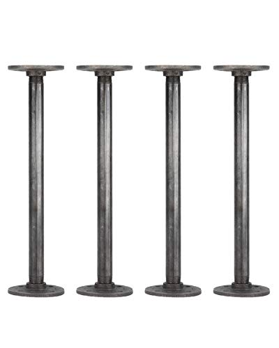 (Rustic Industrial Pipe Decor Table Legs,Authentic Industrial Steel Grey Iron Fittings, Flanges and Pipes for Custom Vintage Tables and Furniture Decorations, DIY Kit with Hardware, (12-inch))