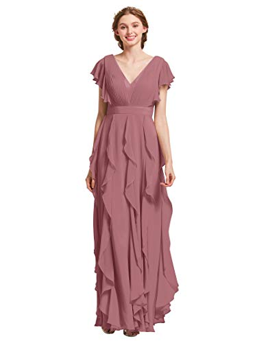 AW Bridal Plus Size Bridesmaid Dresses for Women Formal Dresses with Sleeves Chiffon Long Gowns and Evening Dresses, Dusty Rose, - Dress Maternity Chiffon Wedding