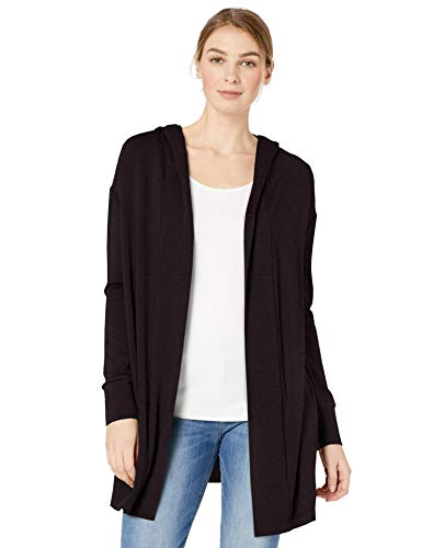 Amazon Brand - Daily Ritual Women's Supersoft Terry Hooded Open Sweatshirt, Black, Large
