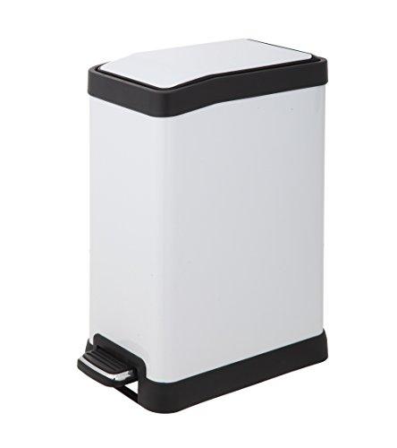 White Steel Rectangular Trash Can (HomeZone 8-Liter Stainless Steel Rectangular Step Trash Can, White Finish)