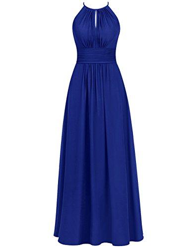 Sleeveless Cdress Prom Bridesmaid Womens Party Dresses Wedding Halter Blue Long Chiffon Royal FxpqFr