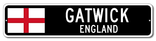 England Flag Sign - GATWICK, ENGLAND - Custom City Flag Sign - 9