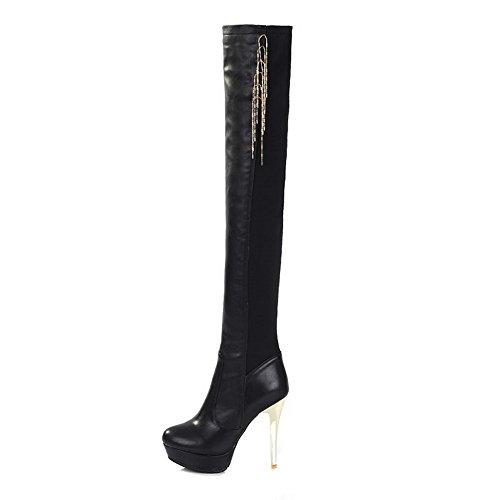 AmoonyFashionWomens B PU 5 Closed Soft Toe with Boots Material M Heels US Metalornament High Black Round Solid 5 Ar6xZnqA