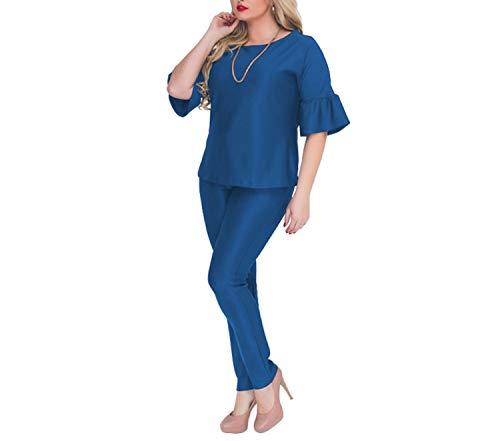 Cappotti Taglie Ol Abbigliamento Pezzi Set Giacche Estivo Chic Blue Pantaloni E Casual Top Da Donna Grandi Abiti Lavoro 2 AqBEZxw