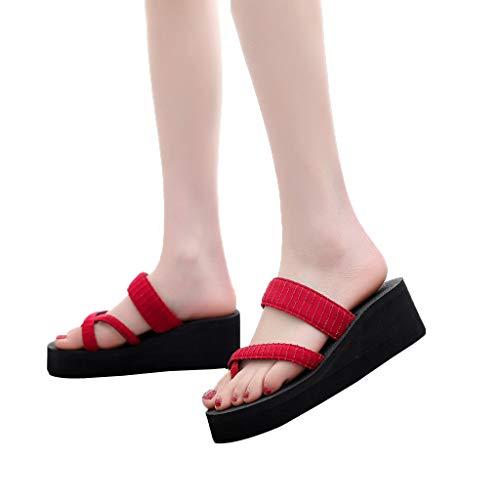YEZIJIN Hot Sale! Women's Slippers Fashion Non-Slip Wedge Clip-Toe Sandals Sequin Beach Shoes Slipper Heels Platform Flats Shoes for Women Ladies Girl Indoor Outdoor Clearance 2019 Best by YEZIJIN_Women's Sandals (Image #3)