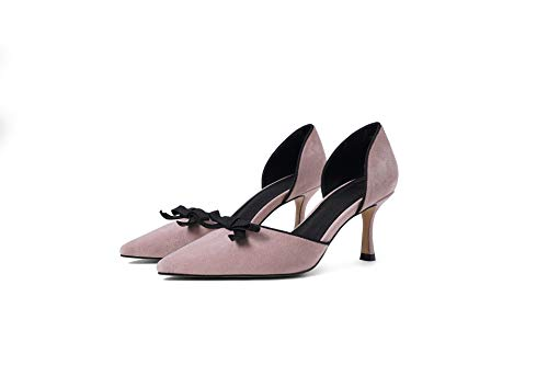 Yukun zapatos de tacón alto Autumn Pointed Hollow Shallow Mouth Single Shoes Female Bow Fine with Wild Small Fresh High Heels Naked Pink