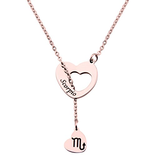 ENSIANTH Rose Gold Zodiac Signs Heart Necklace Stainless Steel Lariat Y Necklace Best Birthday Gift (Scorpio)