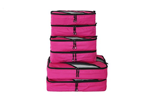 Travel Package (6 Set Packing Cubes,Packing Organizers with Laundry Bag,Travel Luggage Compression Bags,Travel Packages Cubes(Red (6 Packing Cube:2L+2M+2S)))