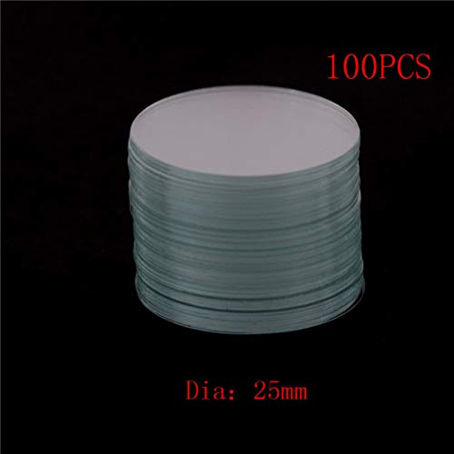 100Pcs/lot Diameter 25mm Circular Round Microscope Slide Coverslip Cover for Lab Medical Glass (Glass Cover Slide)