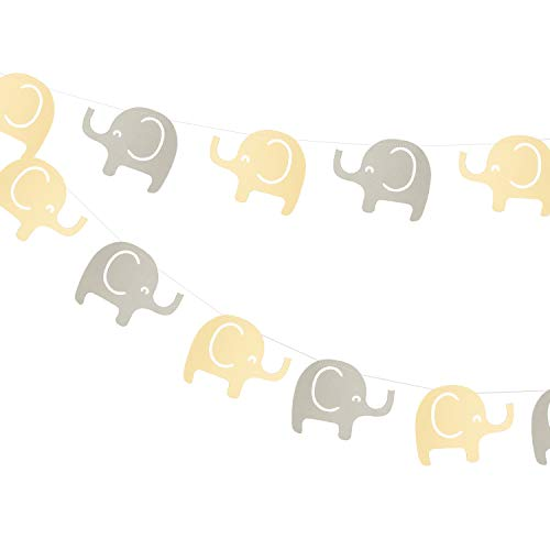 Elephant Garland Decorations, Elephant Baby Shower Banner, Elephant Theme Party Banner (Yellow, Gray) 10 Feet, -