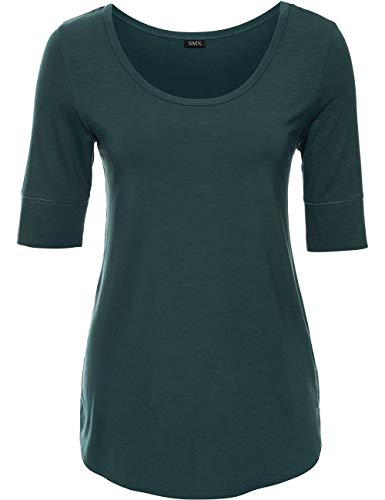 Comfortable Cotton Summer Office Tops for Women Solid Color, Peacock Green, XX-Large -