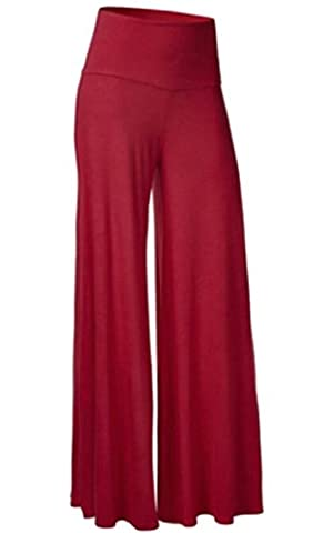 xiaokong Women Comfy Smocked Waist Loose Pants Casual Trousers Wine Red XL - Smocked Waist Silk Blouse