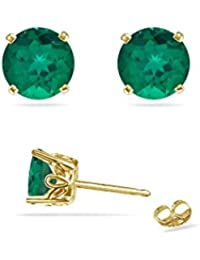 0.47-0.51 Cts of 4 mm AAA Round Lab Created Emerald Scroll Stud Earrings in 14K Yellow Gold