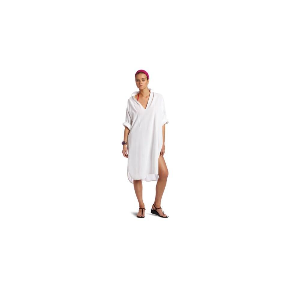 Majestic Swim Womens Shirt Dress, White/Cream, Large