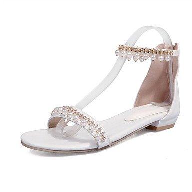 LvYuan Tacón Plano-Confort Innovador Zapatos del club-Sandalias-Oficina y Trabajo Vestido Informal-Semicuero-Negro Rosa Blanco Plata Oro Silver