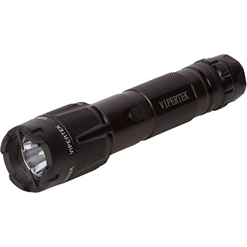 VIPERTEK VTS-T03 - Aluminum Series 59 Billion Heavy Duty Stun Gun - Rechargeable with LED Tactical Flashlight, Black