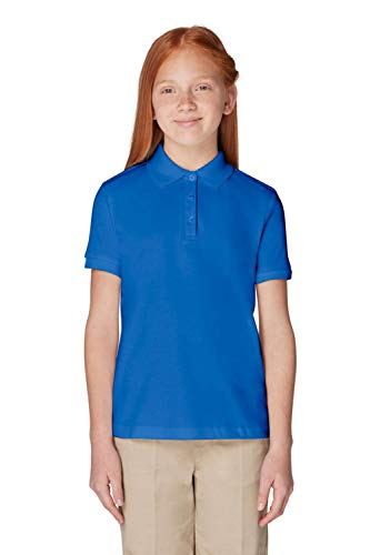 French Toast Girls' Big Short Sleeve Picot Collar Interlock Polo, Royal, L (10/12) by French Toast