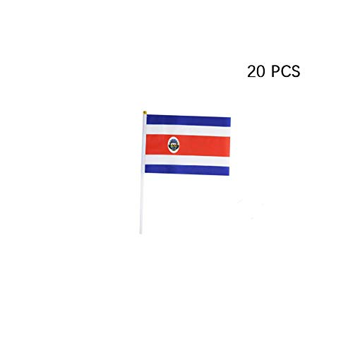pretty_jessie Costa Rica Flag Costa Rican Hand Held Small Mini Stick Flags Decorations International Country World Flags for Party Olympics Festival Parades Parties Decor (20 Pack) (Costa Rica)