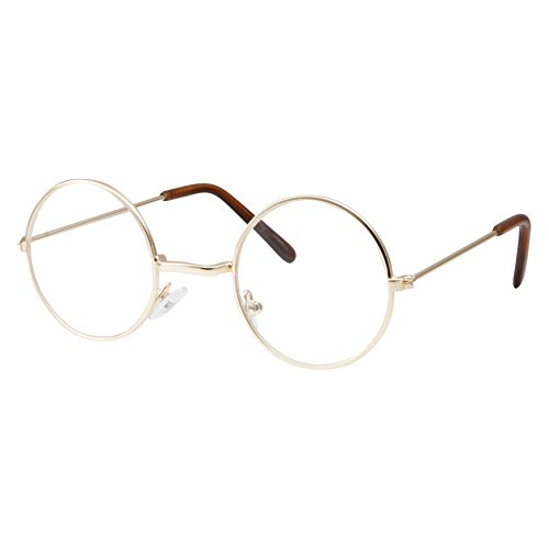 Kids Size Non-Prescription Glasses Round Circle Frame Clear Lens Costume (Age 3-10) Gold]()