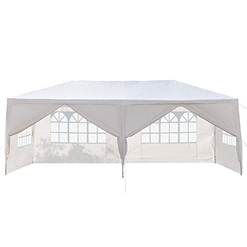 Festnight 10' x 20' Garden Outdoor Gazebo Canopy with 6 Sides Removable Walls and 2 Doors Spiral Tubes Heavy Duty Waterproof Patio Party Wedding Tent BBQ Shelter Pavilion Cater Events White ()