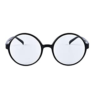 Agstum Retro Round Glasses Frame Clear Lens Fashion Circle Eyeglasses 52mm (Shiny Black, 52mm)