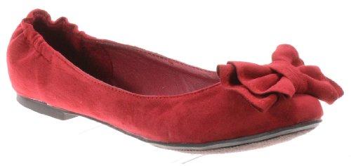 Breckelle Alice-22w, Søt Bow Deco Ballerina Flat - Clearance Rød