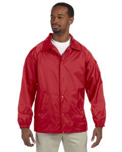 Hoodie 2008 Kids - Harriton Men's Raglan Sleeves Nylon Staff Jacket, Red, 4XL