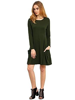 ROMWE Women's Loose T-Shirt Long Sleeves Casual Pockets Plain Dress