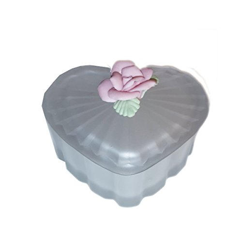 Import Vintage Frosted Glass Heart Shaped Trinket Box Pink Enameled Rose