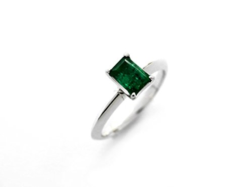 Emerald Cut Engagement Ring, Genuine, 18K White Gold, Solitaire shape, Size 6.5 Colombian