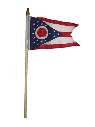 ALBATROS (6 Pack) 6x9 6ftx9ft State of Ohio Stick Flag with Wood Staff for Home and Parades, Official Party, All Weather Indoors Outdoors