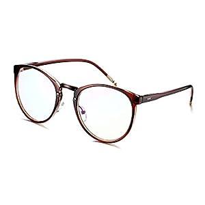PenSee Oval Oversized Eyeglasses Frames Inspried Horn Rim Clear Lens Glasses