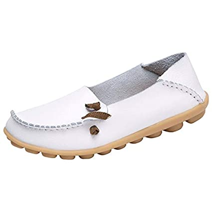 Qiusa Zapatos de Mujer de Gran tamaño Comfort Casual Leather Walking Nurse Flat Mocasines (Color