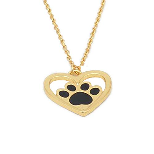 - Dripping Oil Dog Claw Footprint Love Necklace Pendant Geometric Jewelry