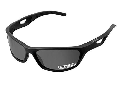 Womens Medium Frame Sunglasses - AOKNES Polarized Sports Sunglasses for Men Women Baseball Running Cycling Fishing Golf Tr90 Durable Frame (Matte Black Frame/Polarized Black Lens)